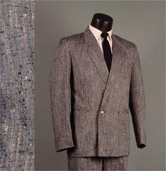 Vintage Mens Suit 1980s MIAMI VICE Style Grey Flecked Double Breasted Baggy Pant 2 Two Piece Men's Vintage Suit $140.00