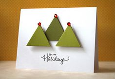 Simple holiday card #white #green #christmas #tree #easy #scrapbook