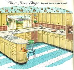 Sears kitchen cabinets and more - 32 page catalog retro picture frame kitchen old kitchen had that rounded end shelf and a brown double ovenretro picture frame kitchen old kitchen had that rounded end shelf and a brown double oven 1950s Kitchen, Old Kitchen, Vintage Kitchen, Retro Kitchens, Vintage Dishware, Kitchen Ideas, Mid Century Decor, Mid Century House, Retro Home Decor