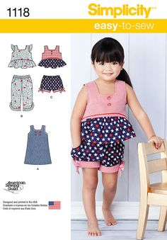 Simplicity 1118 Toddlers' Dress, Top and Cropped Pants or Shorts Sewing Pattern