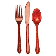 Glitter Glitz Red Assorted Plastic Forks, Knives & Spoons. $4.95 per package.