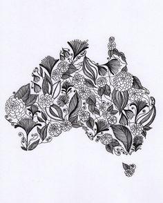Australia Patterned Art Drawing 8x10 Print by ArtbyTheLittleLeaf, $18.00
