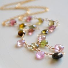NEW Tourmaline Necklace, Pink Green Multicolor Gemstone, Semi Precious Stone, October Birthstone, Gold Jewelry, Free Shipping
