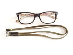 Eyeglass Chain Green Leather Eyeglass Chain Eyeglass by MariaCruz