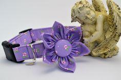 Unique Dog Collar, Pet Supplies, Adjustable Pet Collar Purple Flower Cotton…