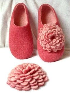 2 in 1 PDF Tutorial in English Felted Slippers, and Felted flower decoration using wet felting technique. $16.00, via Etsy.