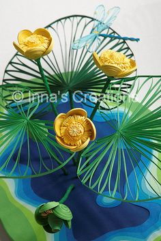 """Quilled Nuphar flowers (Yellow water lily)"" by Inna's Creations, via Flickr - I'm impressed with this 3D quilling!"