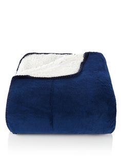 Bijenkorf Home Fleece plaid met pluche • de Bijenkorf - donkerblauw
