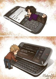 OMG LOOK AT THE LITTLE FEET! Sherlock and John texting