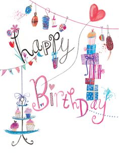 Happy Birthday (W052) Luxury Celebration Card by Laura Hughes, features 'Silver Foil' highlights. http://www.thewhistlefish.com/product/w052-happy-birthday-luxury-card-by-laura-hughes