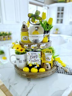 Kitchen Tray, Lemon Kitchen, Bee Theme, Tray Decor, Sideboard Decor, Tray Styling, Tiered Stand, Summer Decorating, Decorating Ideas