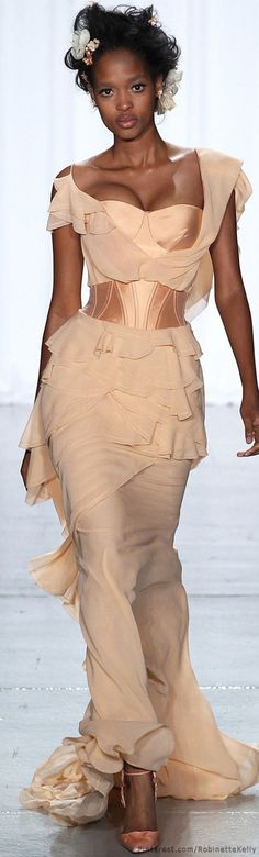 Zac Posen | S/S 2014 nude dress women fashion outfit clothing style apparel @roressclothes closet ideas