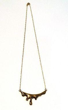 brass drip necklace