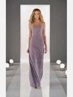 Elegant Column Strapless Lace-up Chiffon Bridesmaid Dress $102 didobridal