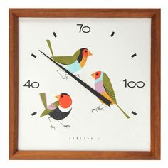 USA Charley Harper rare enameled steel thermometer in walnut frame given to Honeywell employees for special merit. 1950s. h7w7d2