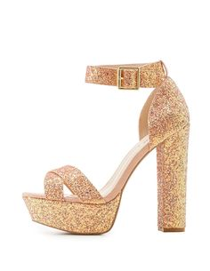 Qupid Glitter Two-Piece Platform Sandals | Charlotte Russe
