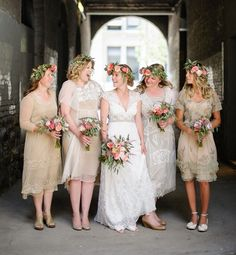 Rustic bridesmaids with flower crowns!