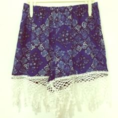 """Patchwork Lace Trim Shorts! Patchwork Lace Trim Shorts!Size Large. NWT. From the line of April Spirit, described to be """"very Brandy Melville"""" in it's affordability + light, fun, boho/beach vibe. Elastic waist. Lightweight, chiffon-like material with white crochet hem.✌️Price Firm Unless Bundled.No Trades April Spirit Shorts"""