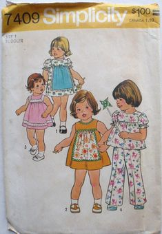 Simplicity 7409 - Toddler's Dress or Top and Pants Sewing Pattern - Size 1, Chest 20 - Uncut