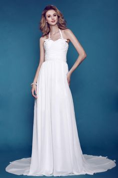 Glamorous Empire Halter Sleeveless Floor-length Chiffon Wedding Dress, $243.69 with free shipping.