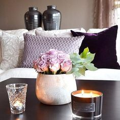 Loving the dark purple, black, lavender & cream color scheme