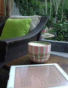 latte + book + backyard = bliss