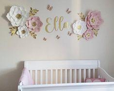 White Paper Flowers, Paper Flower Wall, Flower Wall Decor, Pink Paper, Flower Decorations, Wall Flowers, Flower Nursery, Baby Girl Nursery Decor, Nursery Wall Decor
