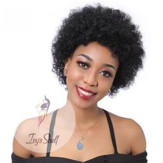 Natural Black Short Kinky Curly Remy Human Hair Wig Price: 42.00 & FREE Shipping #hashtag3 Remy Human Hair, Human Hair Wigs, Natural Wigs, Moisturize Hair, Wigs For Black Women, Brazilian Hair, Hair Type, Wig Hairstyles, Kinky