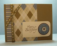 handmade birthday card ... monochromatic browns make it a great card for a guy ... like the variety of patterned papers ... Stampin'Up!