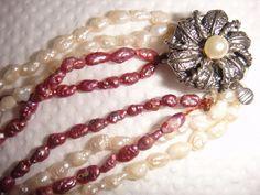 Biwa Süßwasser Perlenkette seltene natürliche violette Perlen sowie weisse