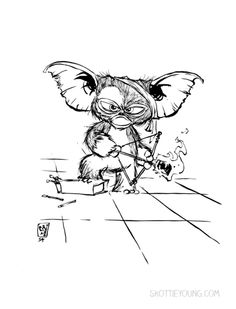#DailySketch Gizmo. Original art... by Skottie Young at http://skottieyoung.com/post/91458946596
