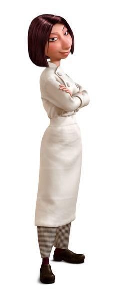 Ratatouille - Colette Tatou (Janeane Garofalo) is Gusteau's rôtisseur. She likes Lunguini and encourages his desire to become a chef. Ratatouille Film, Ratatouille Disney, Ratatouille Movie Characters, Pixar Characters, Pixar Movies, Disney Movies, Disney Stuff, Disney Pixar, Disney Animation