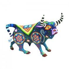 Lovely bull by artist Jose Alberto & Fany Fuentes. This small bull is beautifully painted. Bull Tattoos, Paper Mache Crafts, Spirited Art, Colorful Animals, Mexican Folk Art, Psychedelic Art, Tribal Art, Wood Sculpture, Painting On Wood