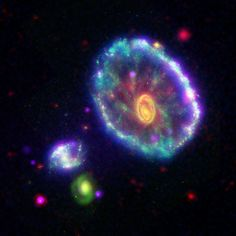 Cartwheel Galaxy |  Cartwheel galaxy as seen by Galaxy Evolution Explorer in ultraviolet light (blue); the Hubble Space Telescope in visible light (green); the Spitzer Space Telescope in infrared (red); and the Chandra X-ray Observatory (purple).