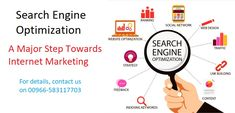 Search Engine Optimization is a Major Step towards Internet Marketing that helps in Search Engine Ranking and to get traffic. For more details, get in touch with us on Internet Marketing, Online Marketing, Digital Marketing, Website Optimization, Search Engine Optimization, Advertise Your Business, Seo Company, Home Based Business, Seo Services