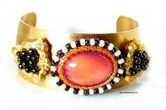 brass embroided bracelet