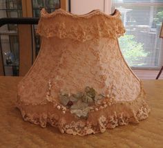 Vintage Peach Tambour Lace Lamp Shade Ruffled Cottage Chic
