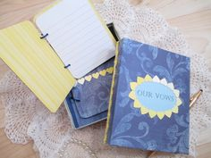 Wedding Vow Book Set  Navy Blue Yellow with by TheMemoryKeeperShop