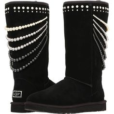 UGG Calais Pearls (Black) Women's Boots ($255) ❤ liked on Polyvore featuring shoes, boots, black, mid-calf boots, platform shoes, pull on boots, black shoes, faux-fur boots and black mid calf boots