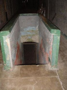 Alcatraz: Dungeon Entrance. A hatchway in the floor on D-Block also led to the dungeon in the basement which contained several cells. The worst behaved inmates would be locked inside their cells in the dungeon, chained to the walls.