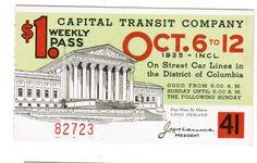 Capital Transit Weekly Pass (1935).