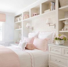girls room design with pink and white bedding, scallop bedding and wallpaper with sconces by girl bed, girl nightstand decor and bookshelves in teen girl bedroom Big Girl Bedrooms, Little Girl Rooms, Light Pink Girls Bedroom, Bedroom Girls, Home Bedroom, Bedroom Decor, Bedroom Ideas, Peaceful Bedroom, Bedroom Storage