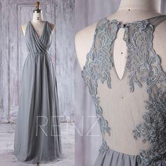 2016 Dusty Shale Bridesmaid Dress Long, Ruched V Neck Wedding Dress, Lace Back Prom Dress, Maxi Dress, Chiffon Evening Dress Floor (L092D) by RenzRags on Etsy https://www.etsy.com/listing/503184701/2016-dusty-shale-bridesmaid-dress-long