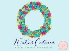 wca 8 Blue Flower Clipart, Bachelors Buttons, Wreath Clip art, Watercolor Floral Cliparts 3