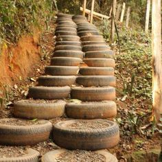 recycle and reuse old tires! a stairway up a hill! how cool and rustic looking!