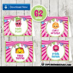 Printable Shopkins Food Place Cards. Decorate your Shopkins themed buffet table with these awesome food tents! Each Tent Card measures 3.5″x5″ unfolded, and 3.5″x2.5″ once folded for display. ✻ WHAT YOU GET This listing includes 18 PDF files with 4 designs per sheet: Bread Head-Coco Nutty-Dlish Donut-Cheese Kate Mini Muffin-Flutter cake-Kooky Cookie-Creamy BunBun Dlish Donut-Cheese […]