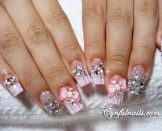 Cute bow and rhinestone nail design