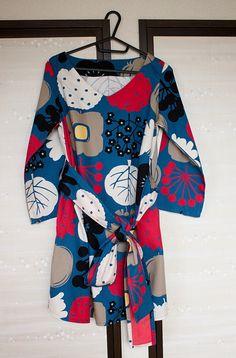 Japanese tunic dress silkscreen-printed cotton tunic by Suisai