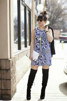 printed blue dress @