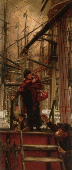 'Emigrants' (1879) by James Jacques Joseph Tissot (15 Oct. 1836–8 Aug.  1902). Tissot was born Jacques Joseph Tissot in Nantes, France. He came into contact with the Impressionists as a young man. Tissot moved to London in 1871. In 1876 Tissot met a young, attractive Irish divorcee, Kathleen Newton, who became his mistress. She became Tissot's muse, appearing in many of his pictures. She was the love of his life but died in 1882 aged 28 of consumption. He never recovered from this tragedy.